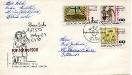 TCHECOSLOVAQUIE. N°1664-6 De 1968 Sur Enveloppe 1er Jour Ayant Circulé. Accords De Munich/Dessins D'enfants. - 2. Weltkrieg