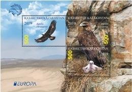 Kazakhstan 2019. 2 Block. Europe.  Europa - CEPT. National Birds. Golden Eagle.  MNH + Used CTO - Kazakhstan