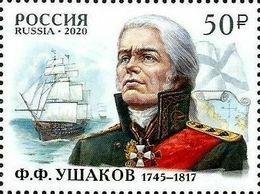 2020-2641 1v Russia Fyodor Ushakov, Naval Commander, Admiral.Military Uniform,ship,map,flag ** - Nuovi