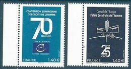 Service 2 Timbres - Conseil De L'Europe - Droits De L'Homme BDF (2020) Neuf** - France