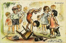 CPA Illustration Germaine Bouret   Enfant Chaise Haltère  Faire Le Poirier - Bouret, Germaine