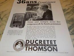 ANCIENNE PUBLICITE 36 ANS D EXPERIENCE  DUCRETET 1934 - Music & Instruments