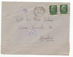 Menton France Zone Occupation Italienne Italie 1943 Censure Militaire Lettre Brief Lettera Cachet Milano Pour Mentone - Storia Postale