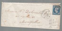 """Oblit. - Losange """"F"""" - Cachet Paris E -  Napoléon 20c Bleu Non Dentelé - 1849-1876: Klassik"""