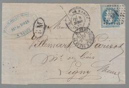 """Oblit. - Losange Des Ambulants Lettres Baton """"SP2°"""" - Strasbourg à Paris-  Napoléon Lauré 20c Bleu - 1849-1876: Klassik"""