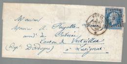 """Oblit. - Losange """"G"""" - Cachet Paris G -  Napoléon 20c Bleu Non Dentelé - 1849-1876: Klassik"""