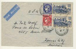 (Z10) - Y&T N°373+375A + 392X2 - LETTRE AVION LYON => USA 1941 - TARIF 1-10 GRS DU 01/01/1941 - Storia Postale