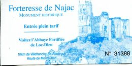 Forteresse De Najac (Aveyron -France) - Toegangskaarten