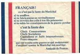 ANTHENTIQUE TRACT PROPAGANDE VICHY - AMICALE DE FRANCE -SOCIALISTES - COMMUNISTES -  JUIFS - FRANC-MACONS - WW2 - 1939-45