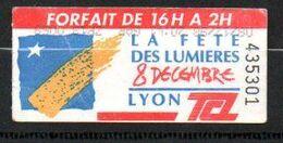 TCL. 1 Ticket Composté Forfait Pass, Fête Des Lumières 1998. - Non Classificati