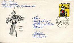 TCHECOSLOVAQUIE. N°1900 De 1972 Sur Enveloppe 1er Jour Ayant Circulé. Destruction De Lidice. - 2. Weltkrieg