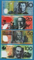 HELL BANKNOTE: LOT 4 BILLETS AUSTRALIA 10+20+ 50+100 DOLLARS  UNC - Vals En Specimen