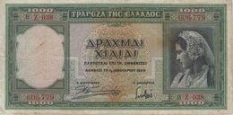 (B0084) GREECE, 1939. 1000 Drachmai. P-110a. VG - Grecia