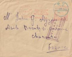 1937 - Enveloppe De VALENCIA Pour BRENTY LA COURONNE (CHARENTE) Avec VISA CENSURE MILITAIRE + Cachet E.C. N°2 - Republicans Censor Marks