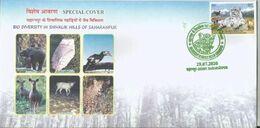 Shivalik Hills, Elephant, Oriental Pied Hornbill, Sambar, Leopard, Plus Detail Broucher Special Cover By India Post - Félins
