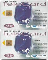 Namibia - Telecom Namibia - Gemstones, Amethyst, (2 Different CN. Short & Long), Solaic, 2000, 20+2$, Used - Namibie