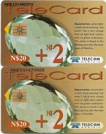 Namibia - Telecom Namibia - Gemstones, Aquamarine, (2 Different CN. Short & Long), Solaic, 2000, 20+2$, Used - Namibie