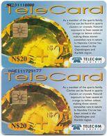 Namibia - Telecom Namibia - Gemstones, Citrine, (2 Different CN. Short & Long), Solaic, 2000, 20+2$, Used - Namibie