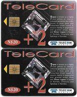 Namibia - Telecom Namibia - Gemstones, Topaz, (2 Different CN. Short & Long), Solaic, 2000, 20+2$, Used - Namibie