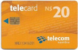 Namibia - Telecom Namibia - Sharing Your World - Orange, Chip Gem5 Red, (Black Cn. At Chip Side), 2010, 20$, Used - Namibie