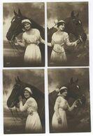 4x AKs Frau Mit Pferd 365 Gel. 1914 Erfurt Postkarte Ansichtskarte - Paarden