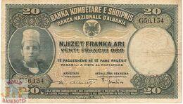 ALBANIA 20 FRANKA ARI 1926 PICK 3a AVF - Albania
