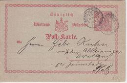 Württemberg/Bayern - 2 Kr. Ganzsache K2 Reutlingen - Grünstadt (Pfalz) 1874 - Wurttemberg