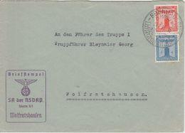 DR - 4+8 Pfg. Adler/Sockel Dienstbrief SA D. NSDAP Sturm 5/1 Ebenhausen 1939 - Dienstpost