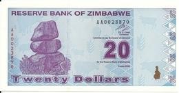 ZIMBABWE 20 DOLLARS 2009 UNC P 95 - Zimbabwe