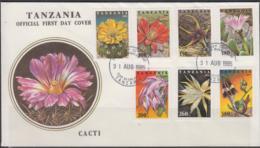 FLOWERS   - TANZANIA - 1995 - CACTI SET OF 7  ON   ILLUSTRATED FDC - Sukkulenten