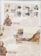 WILDLIFE - PORTUGAL - 2009- CHARLES DARWIN SET OF 6 + S/SHEET ON 2 ILLUSTRATED FDCS - Otros