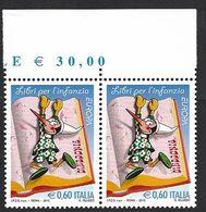 Italia 2010; EUROPA Libri: Pinocchio; Coppia Con Il Prezzo Del Foglio Sul Bordo Superiore. - 2001-10: Mint/hinged
