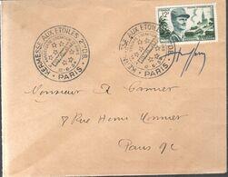 LETTRE 1954 - OBLIT. TEMPORAIRE - ANNIVERSAIRE DE LA LIBERATION DE PARIS - SIGNEE PAR LE GRAVEUR RAOUL SERRES - - Brieven En Documenten
