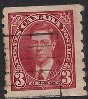 Canada 1937 - 38 KGV1 3ct Scarlet Used Coil Stamp SG 370 ( C1081 ) - Otros