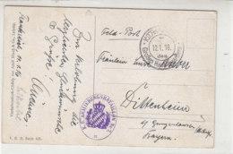 Feldpost Des Großen Hauptquartiers 12.1.16 AK-Stileben Erdbeeren - Storia Postale