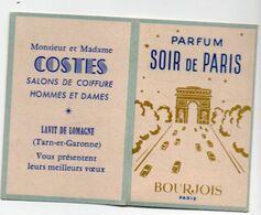 Lavit De Lomagne (82 Tarn Et Garonne) Carte Parfumée Et Calendrier 1962 Bourjois Soir  De Paris  (PPP23790) - Parfumkaarten
