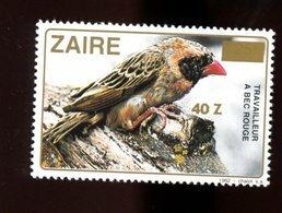 Zaire 1990-Oiseau-Travailleur A Bec Rouge-Timbre Surchargé Nouvelle Valeur***MNH - Pájaros Cantores (Passeri)