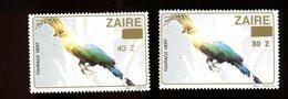Zaire 1990-Oiseau-Toucan-2 Timbres Surchargés Nouvelle Valeur***MNH - Papagayos