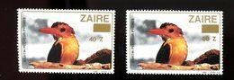 Zaire 1990-Oiseau-Martin Pécheur-2 Timbres Surchargés Nouvelle Valeur***MNH - Pájaros Cantores (Passeri)