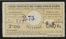 France Colis Postaux Récépissé Paris Pour Paris Surchargé 2F75 Sur 2F00 Pour 5 Kgs Monge 16/06/38 - Sonstige