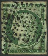 Oblit. N°2 15c Vert, Pelurage Au Verso - B - 1849-1850 Ceres