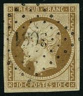 Oblit. N°9 10c Bistre, Signé Brun - TB - 1852 Louis-Napoléon