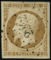 Oblit. N°9 10c Bistre, Signé JF Brun - TB - 1852 Louis-Napoléon