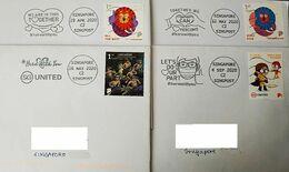 Singapore 2020 Slogan Postmark Fight Covid Virus Stay Safe Mask 4 Different - Disease
