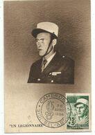 ALGERIE 15FR UN LEGIONNAIRE CARTE MAXIMUM SIDI BEL ABBES 30 AVRIL 1954 - Tarjetas – Máxima
