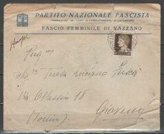 ITALIA 1940 - Lettera Da Fascio Femminile Di Vazzano (Catanzaro) - Storia Postale