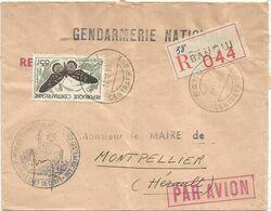 CENTRAFRIQUE 85FR PAPILLON BUTTERFLY LETTRE COVER REC BANGUI 22.12.1960 + GENDARMERIE - República Centroafricana