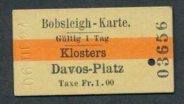 SCHWEIZ QL484 1924 Klosters Davos-Platz Bobsleigh-Karte Billet Fahrkarte Ticket - Europa