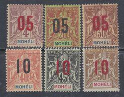 Mohéli N° 17 / 22 X Type Groupe Surchargés : La Série Des 6 Valeurs ,  Trace Charnière Sinon TB - Unclassified
