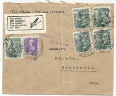 ESPANA 40CX5+20C LETTRE COVER POR AVION VIA ITALIA POR ALA LITTORIA TO SUISSE + CENSURA REUS - 1931-50 Cartas